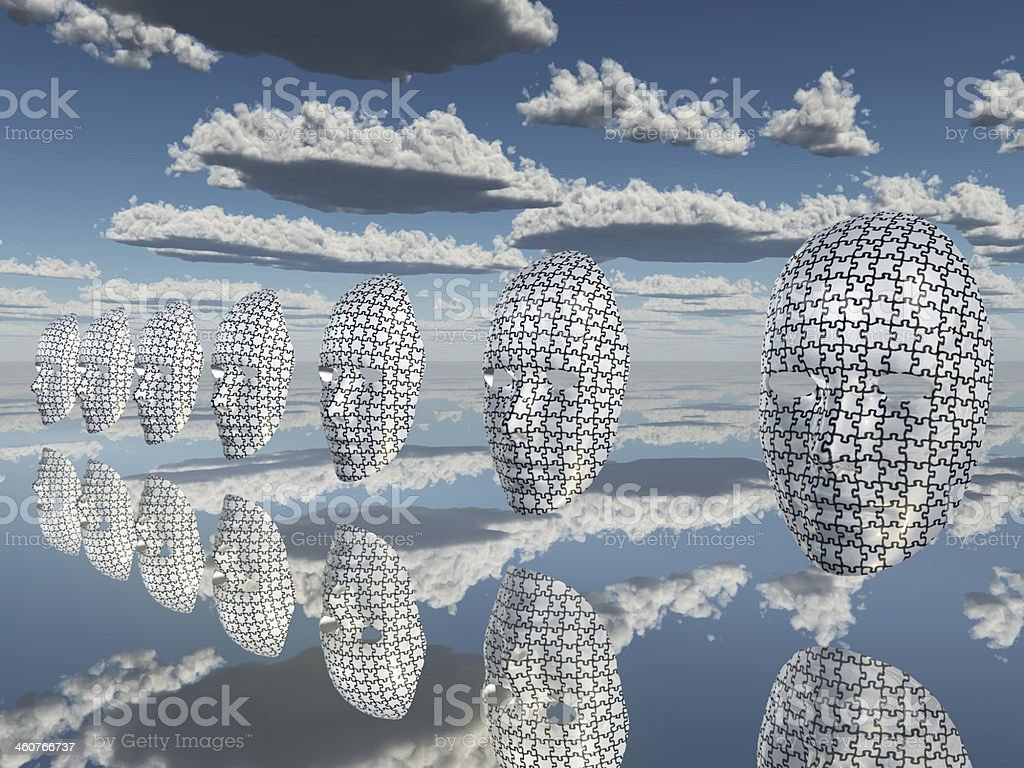 Disembodied puzzled faces hover stock photo
