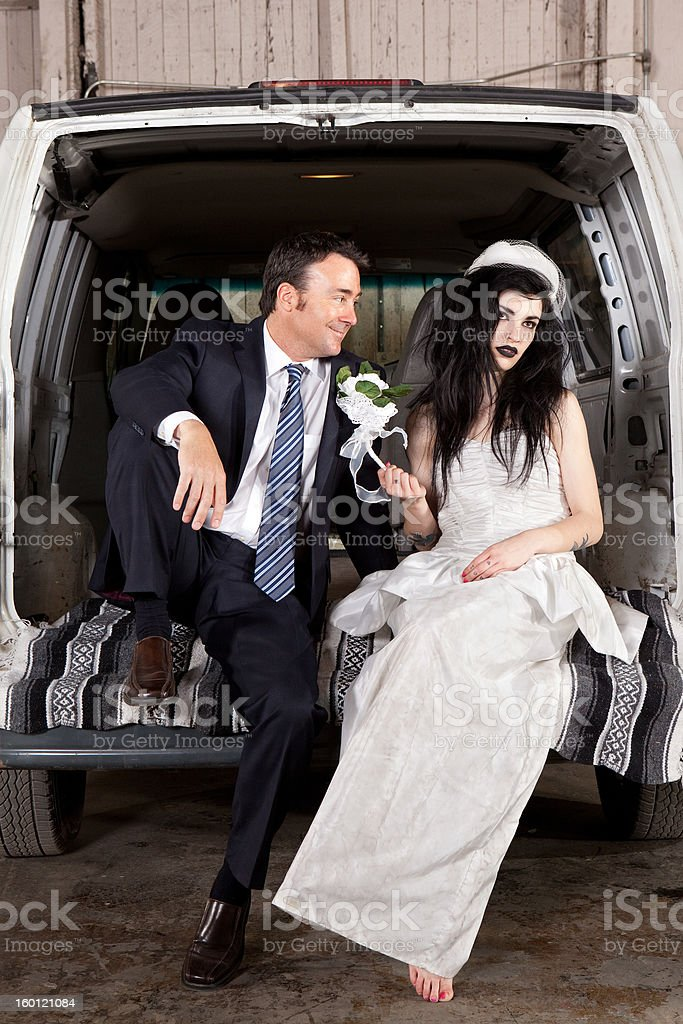 Disenchanted bride cheap wedding stock photo