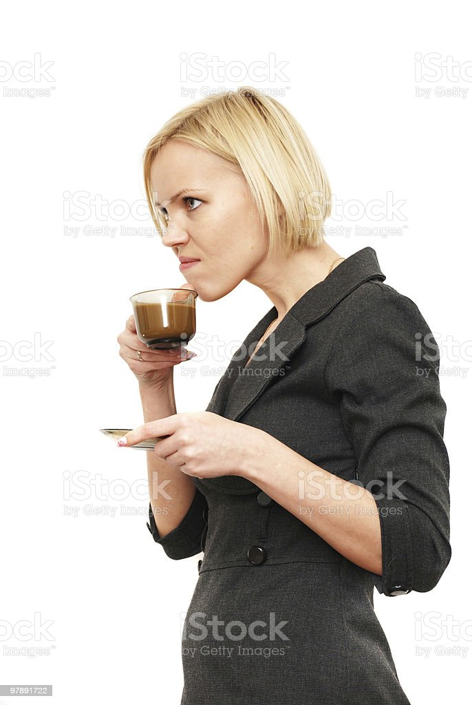 disgruntled drink coffee royalty-free stock photo