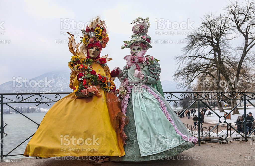 Disguised Couple in Annecy royalty-free stock photo