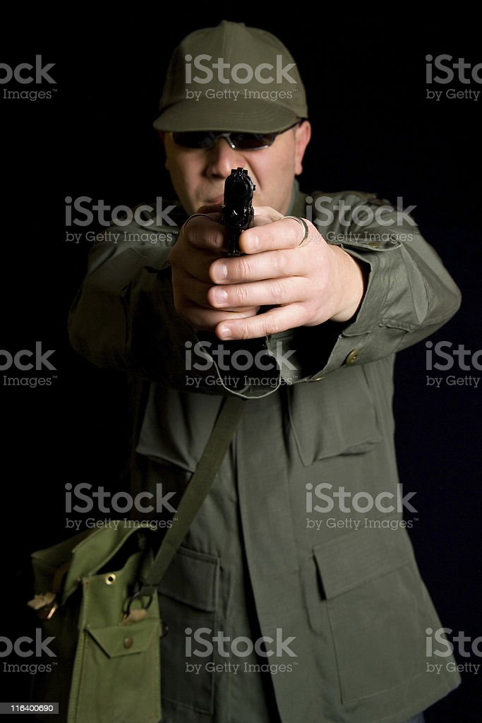 Disguised Military Gunman royalty-free stock photo