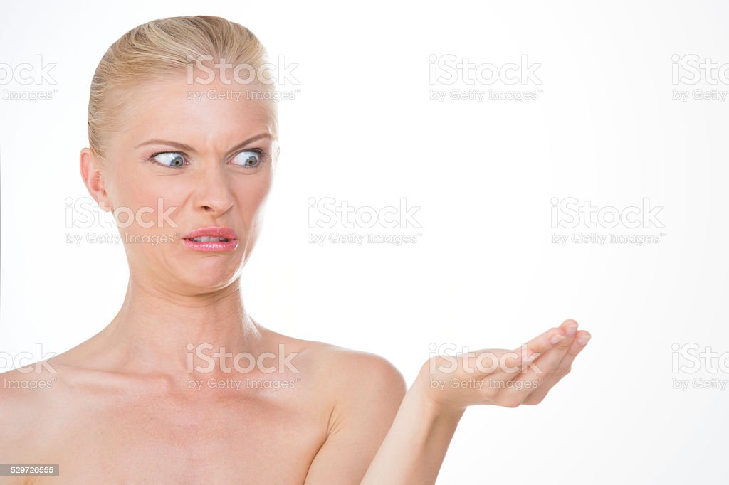 disgusted nordic girl stock photo