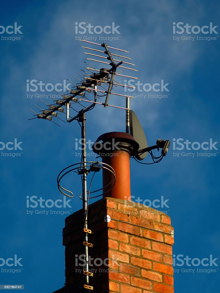 dish and TV arial stock photo
