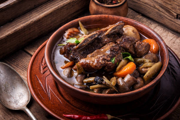 Dish Beef Bourguignon Burgundy beef - classic French cuisine.Beef Bourguignon ragou beef bourguignon stock pictures, royalty-free photos & images