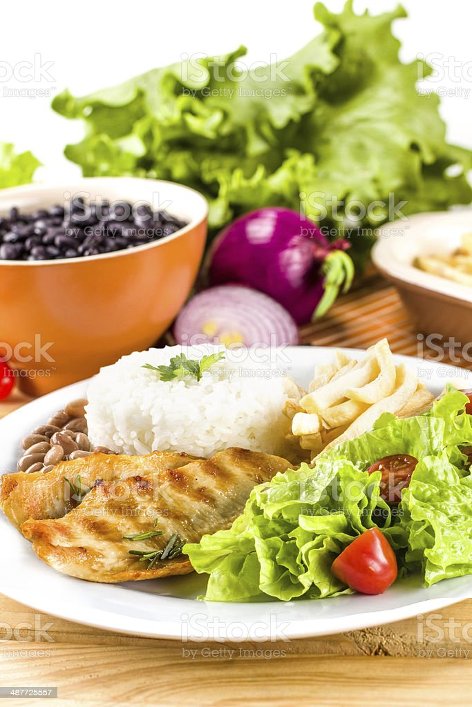 Dish executive: Picanha, fires, rice and beans stock photo