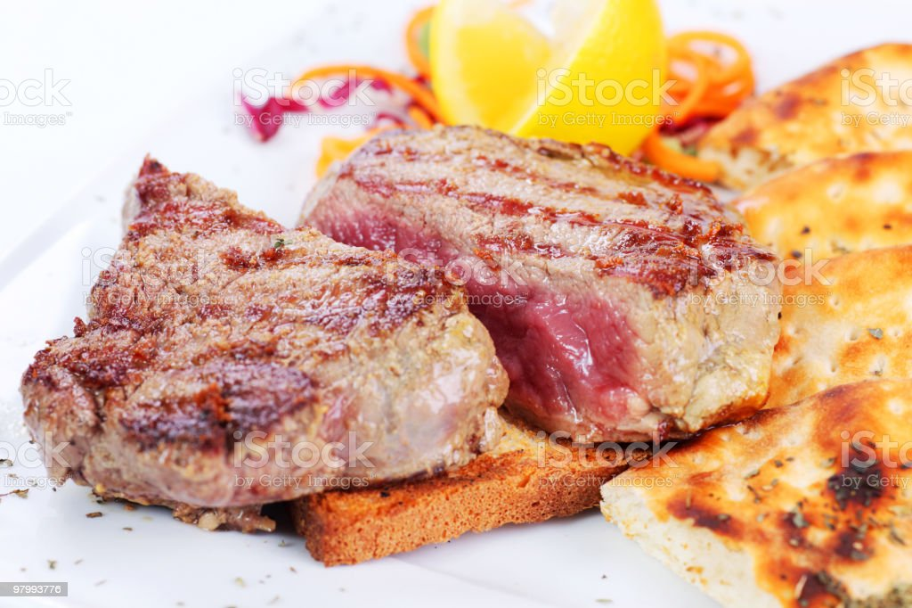 Dish from delicious beefsteak. royalty free stockfoto