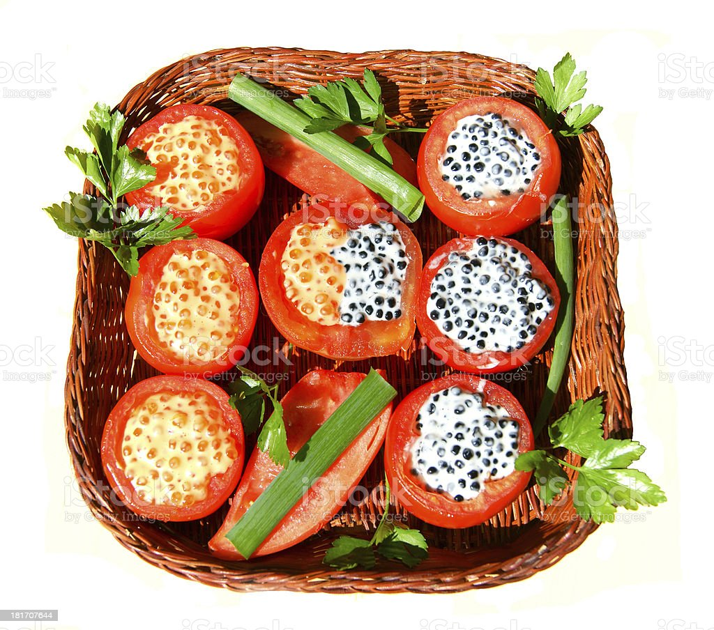 Dish from tomato with stuffing royalty-free stock photo