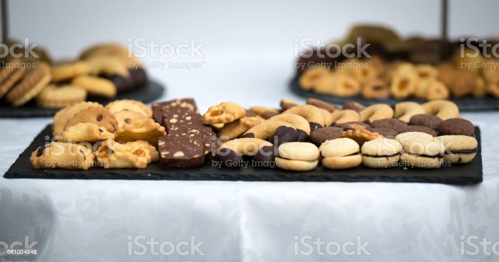 A dish full of cookies stock photo
