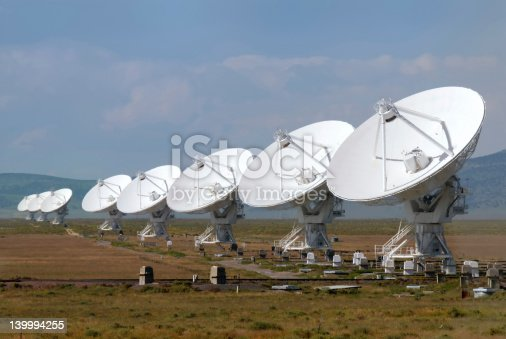 A series of satellite dishes in the New Mexican desert, used for radio astronomy