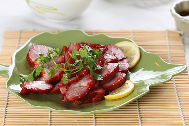 Dish of  chinese roast pork stock photo