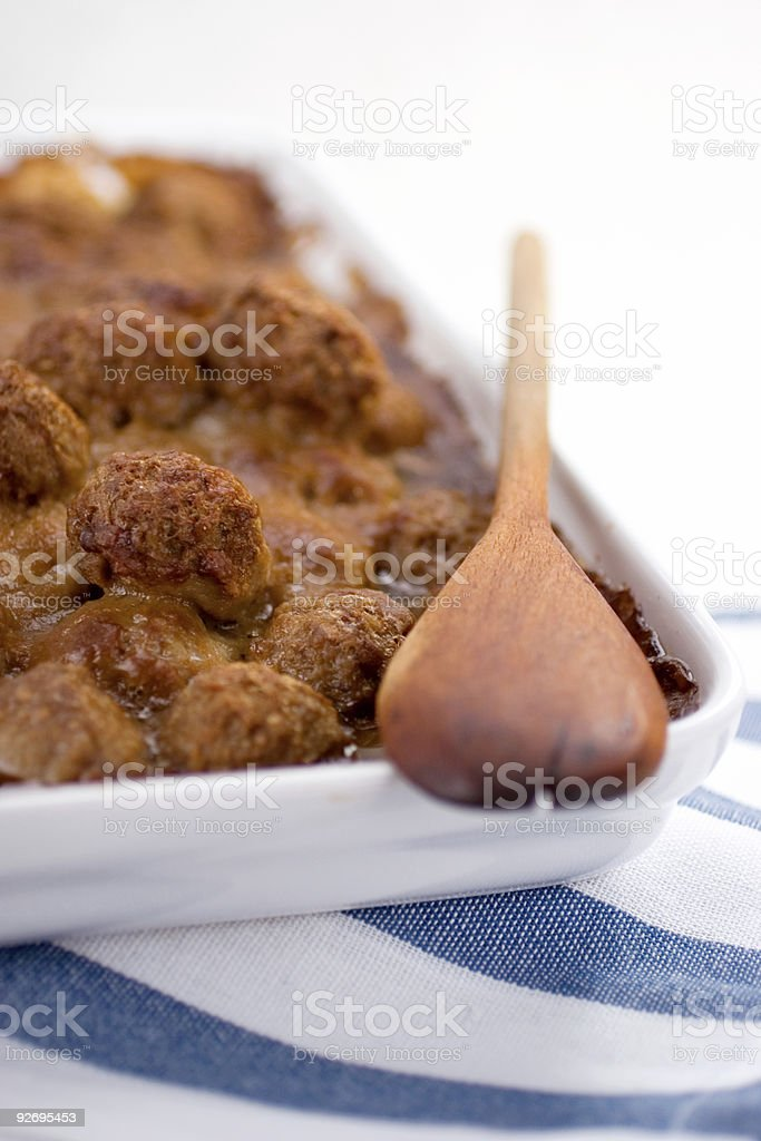 Dish of Meatballs stock photo
