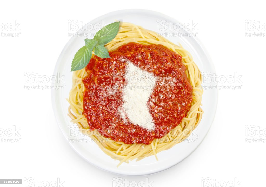 Dish of pasta with parmesan cheese shaped as British Columbia.(series) stock photo