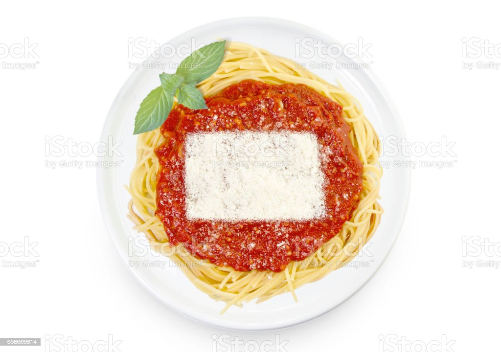 Dish of pasta with parmesan cheese shaped as North Dakota.(series) stock photo