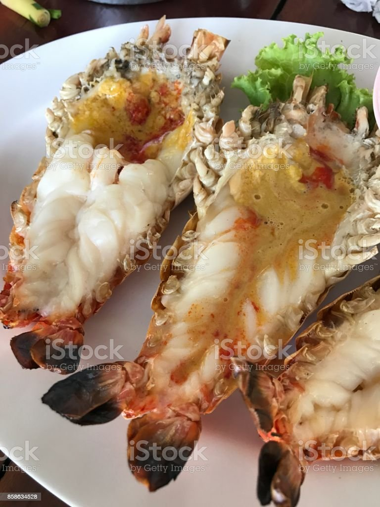 A dish of roasted river prawn. stock photo