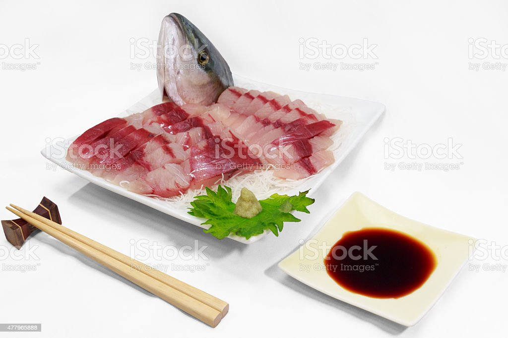 dish of sliced raw yellow tail in the Japanese style stock photo
