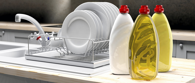 Dish Soap Liquid Detergent Containers In Plastic Bottles On