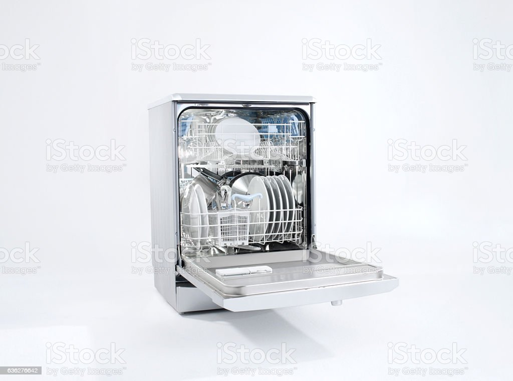dish washer on white background stock photo