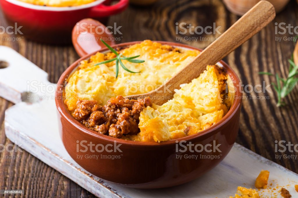 Dish with minced meat and mashed potato stock photo
