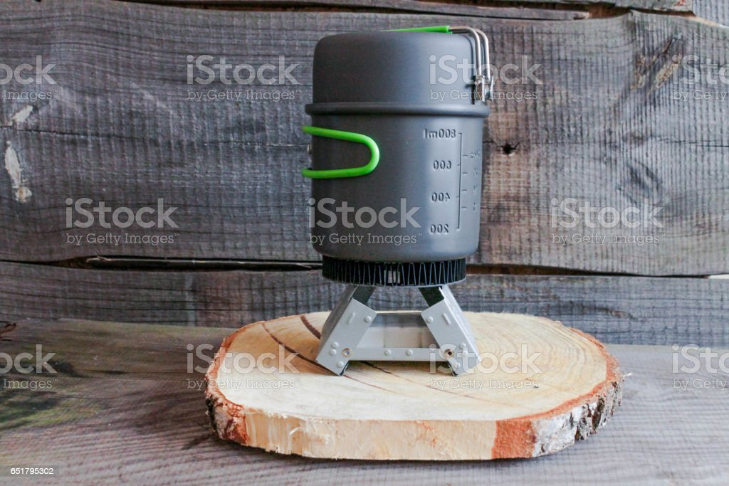 Dishes for camping. stock photo
