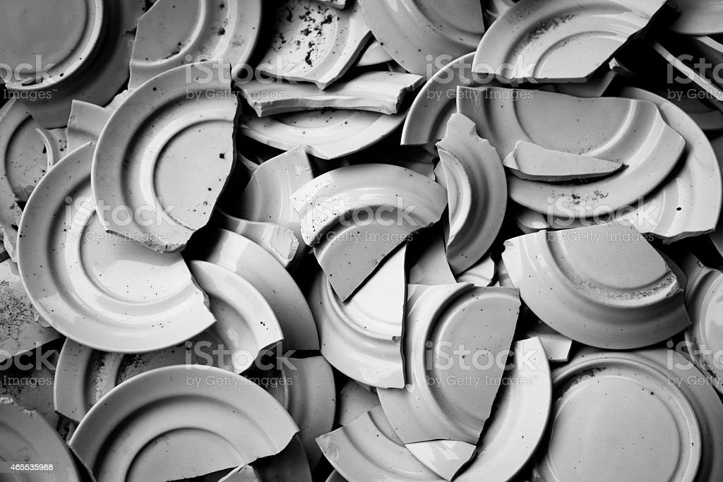 Dishes of coffee broken B/W stock photo
