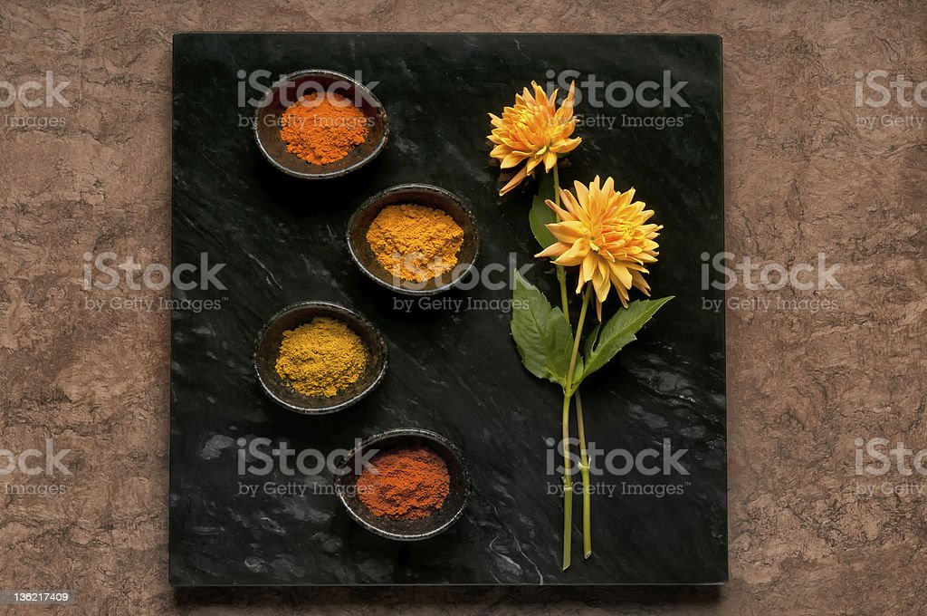 Dishes of Curry and Tagine Powders royalty-free stock photo