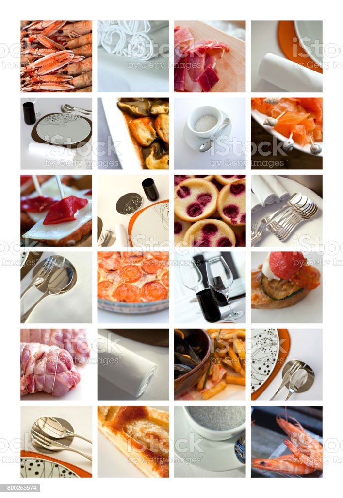Dishes on a collage stock photo