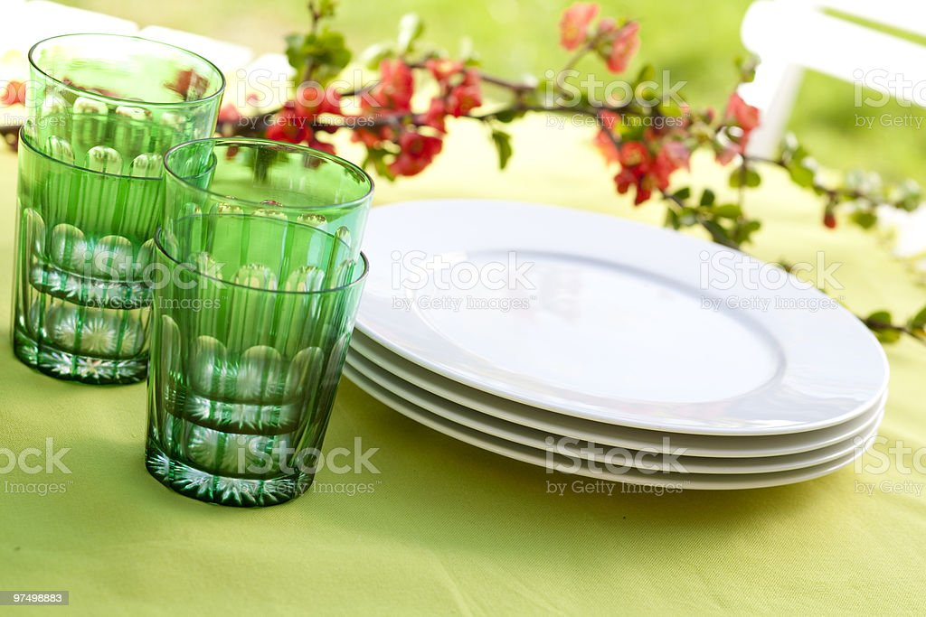 dishes on a garden table royalty-free stock photo