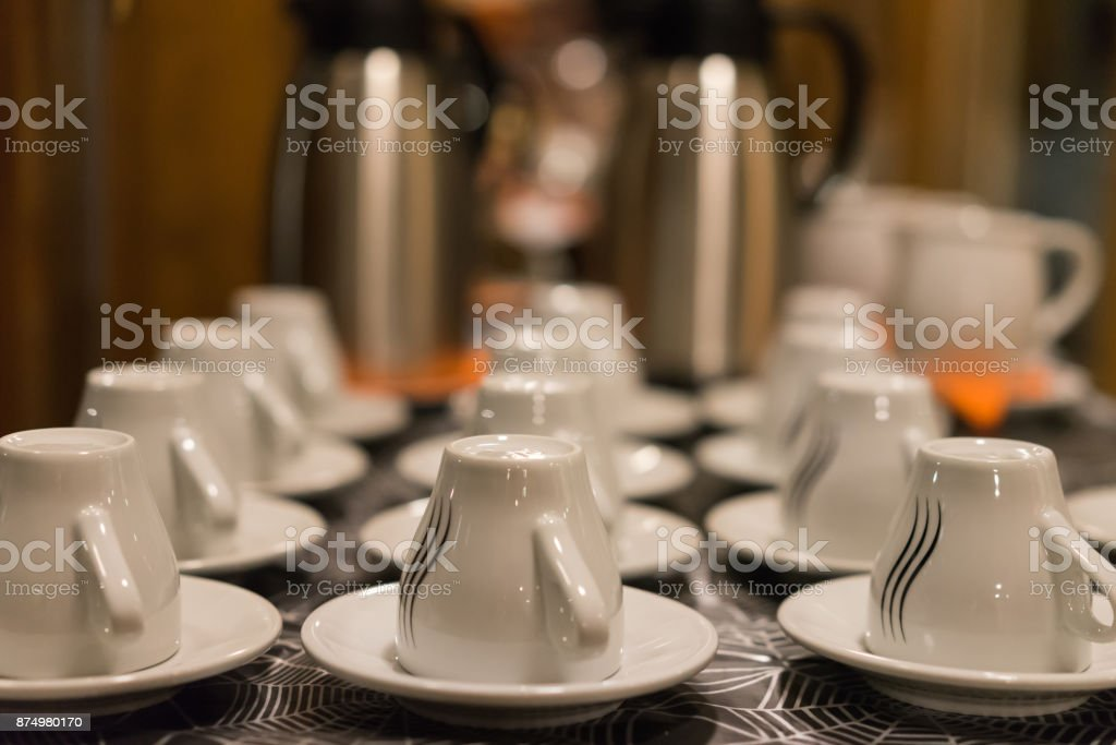 Dishes on party stock photo