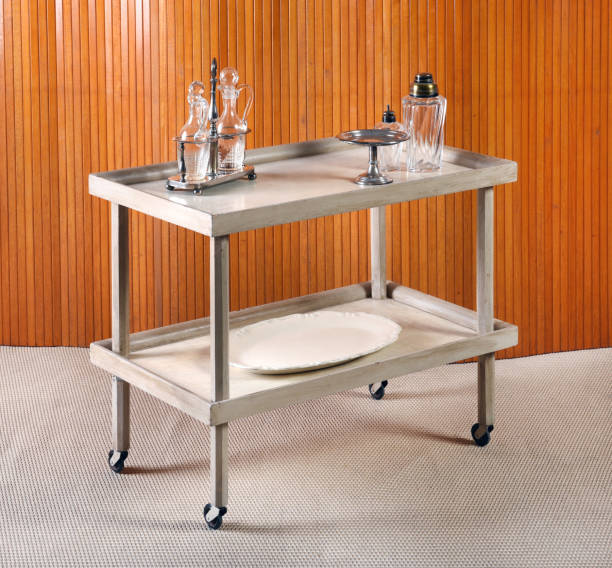 Dishes on Service Cart with Wheels stock photo