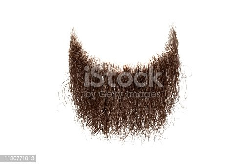 Disheveled brown beard isolated on white. Mens fashion