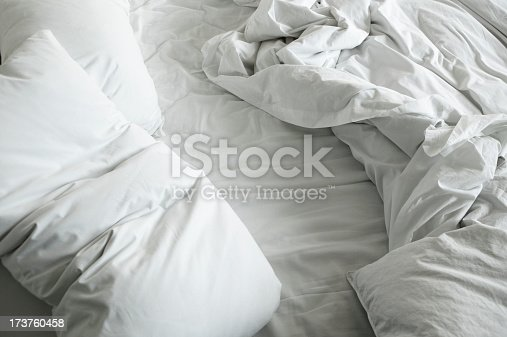An unmade bed