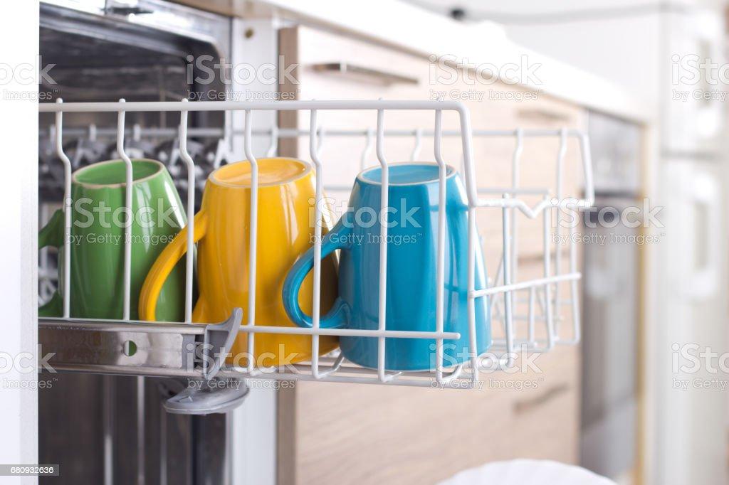 Dishware in dishwasher royalty-free stock photo