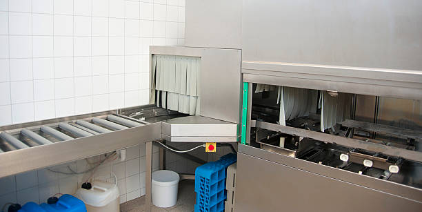 dishwasher machine - commercial dishwasher stock photos and pictures