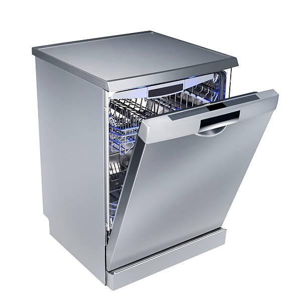 lavastoviglie (isolata con percorso clip su sfondo bianco - bacinella metallica foto e immagini stock
