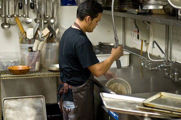 dishwasher - busy restaurant kitchen stock pictures, royalty-free photos & images