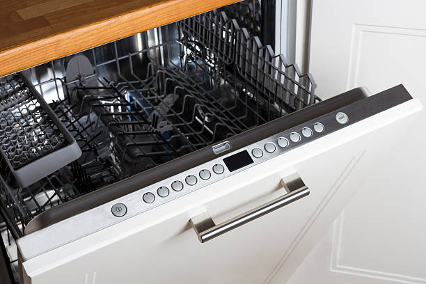 Dishwasher modern Half open empty dishwasher in a modern kitchen dishwasher stock pictures, royalty-free photos & images