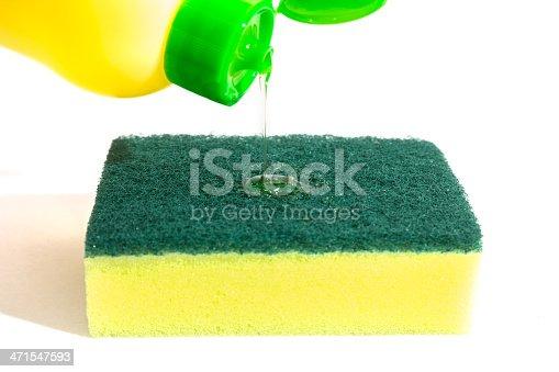 istock Dishwashing liquid and sponge 471547593
