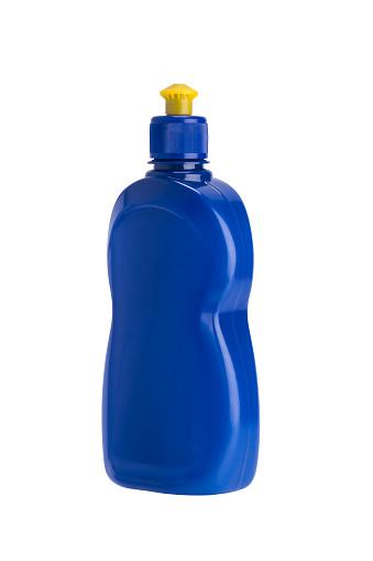 istock Dishwashing liquid in blue bottle, isolated on white 1085992068