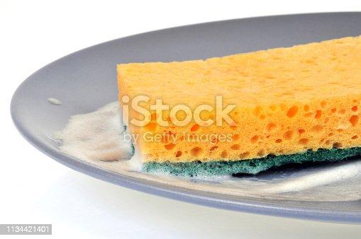 gros plan sur une assiette dans laquelle il y a de la mousse et une éponge