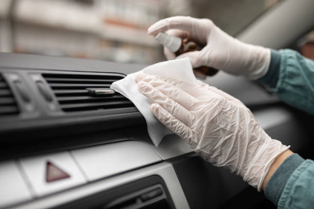 Disinfection and cleaning of car interior stock photo