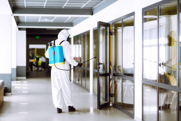 Disinfection of office to prevent COVID-19, Disinfection of office to prevent COVID-19, Man in protective hazmat suit with with spray chemicals to preventing the spread of coronavirus, pandemic in quarantine city. Cleaning concept. decontamination stock pictures, royalty-free photos & images