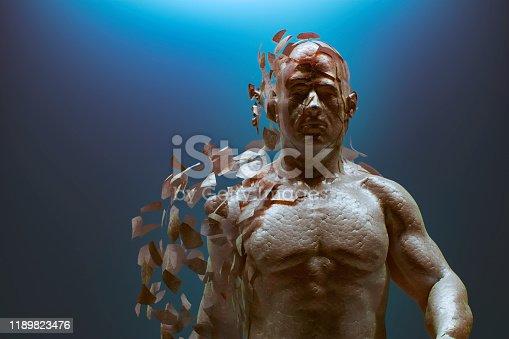 Disintegrating futuristic cyborg. 3D generated image.