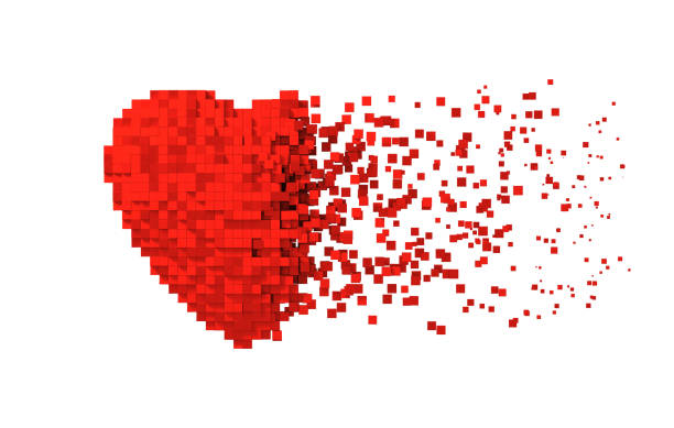 disintegration of red digital heart isolated on white background - disintegrate stock pictures, royalty-free photos & images