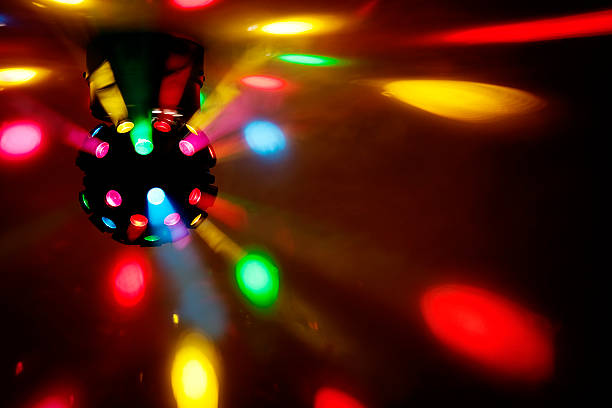 disk Professional disco light ball. High quality image produced in the studio. disco lights stock pictures, royalty-free photos & images