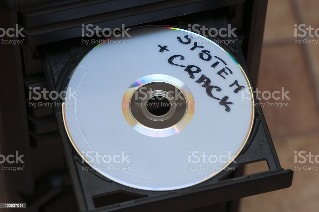 disk with system and crack stock photo