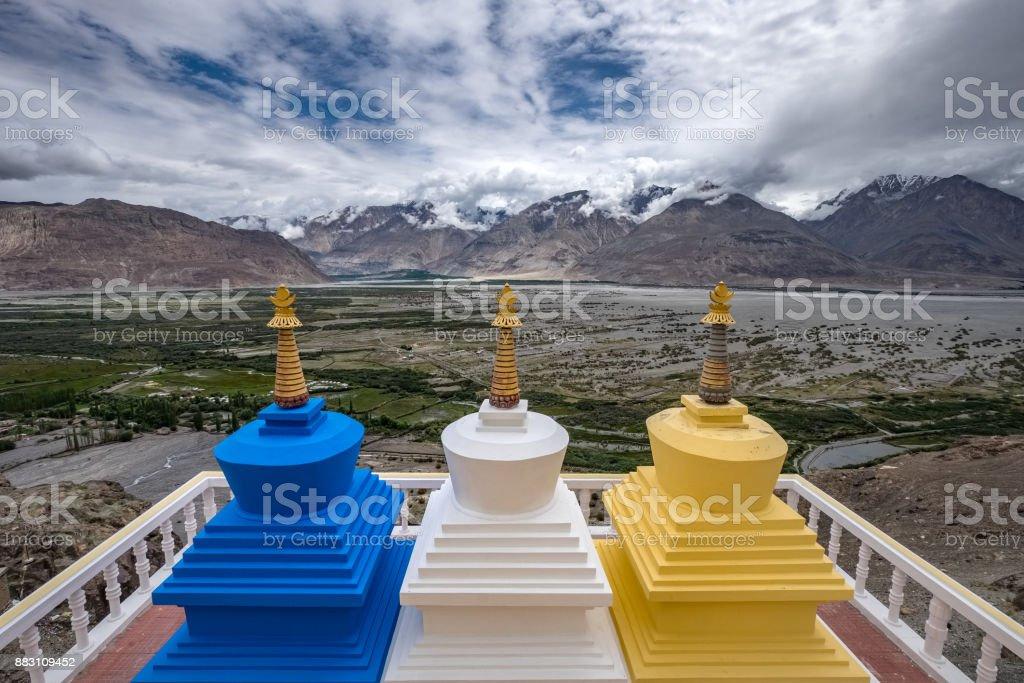 Diskit Monastery in Nubra Valley, Ladakh, India stock photo