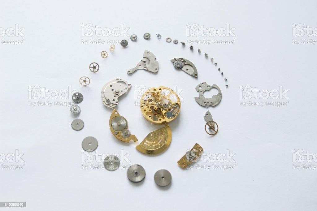 Dismantled mechanical watch stock photo