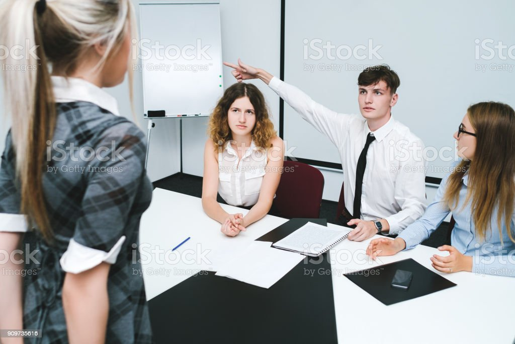 dismissal guilty office worker woman stock photo