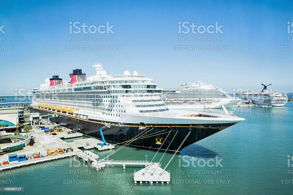 Disney cruise ship docked in Port Canaveral, Florida stock photo