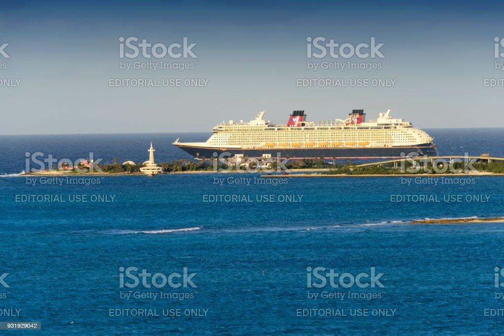 Disney Cruise Ship in Bahamas stock photo